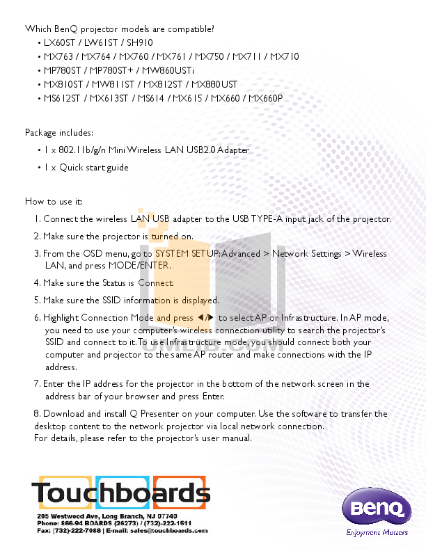 Benq Projector MS612ST pdf page preview