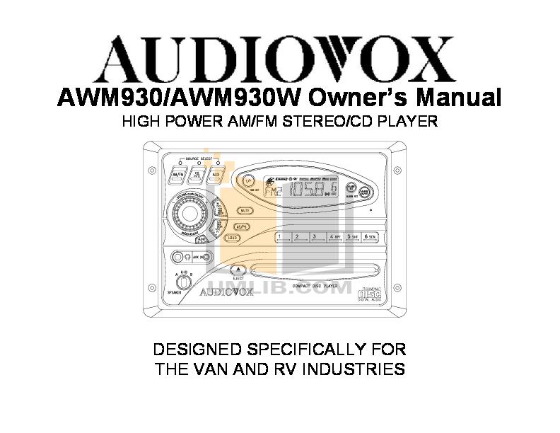 pdf for Audiovox TV AVT-988 manual
