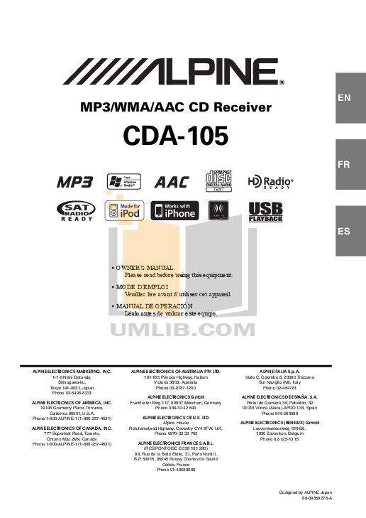 pdf for Alpine Car Video DVE-5207 manual