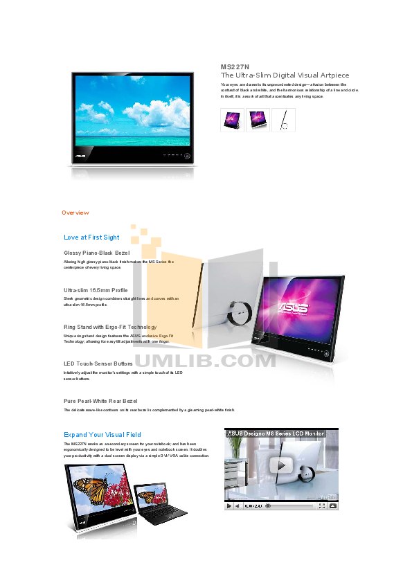 pdf for Asus Monitor MS227N manual