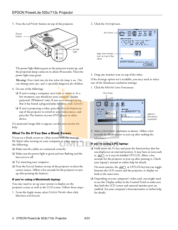 Epson Projector PowerLite 713c pdf page preview