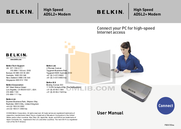 pdf for Belkin Router F5D5730au manual