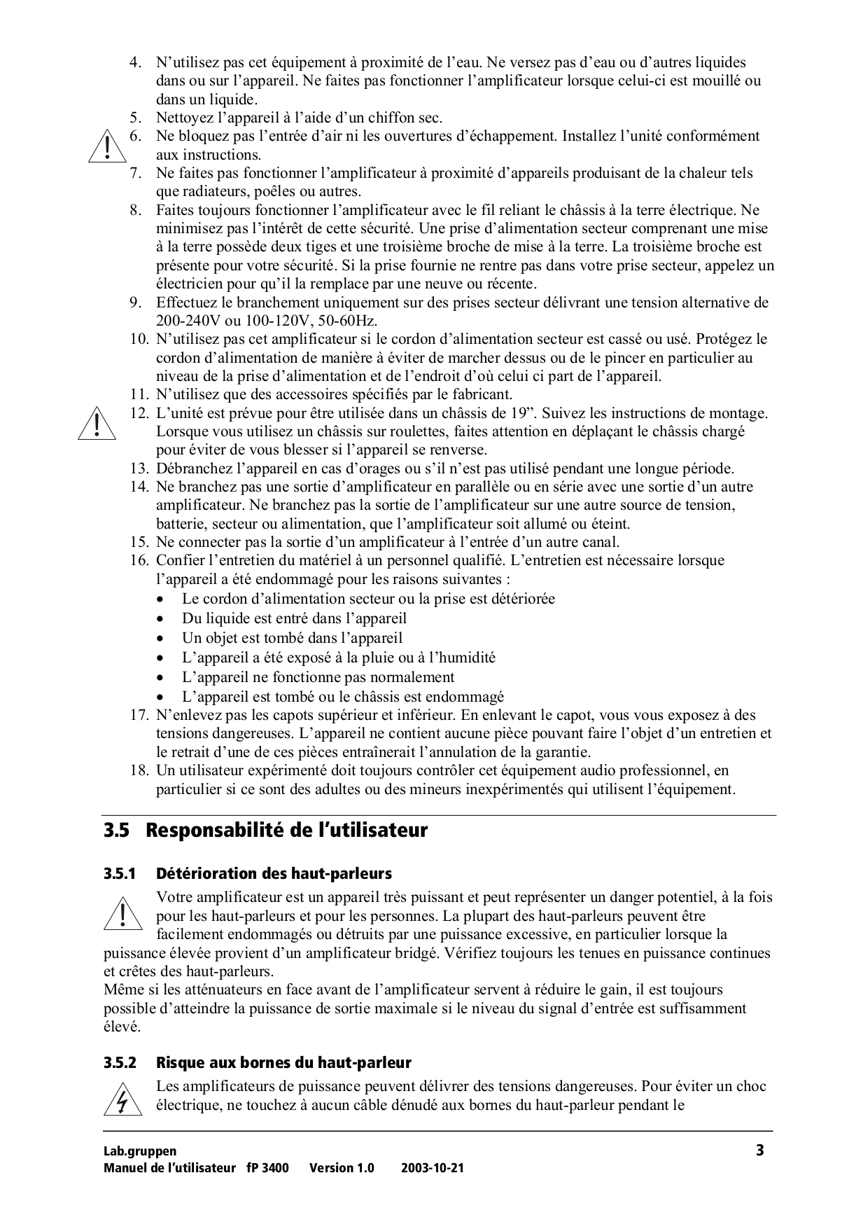 Lab.gruppen Car Amplifier FP 2200 pdf page preview