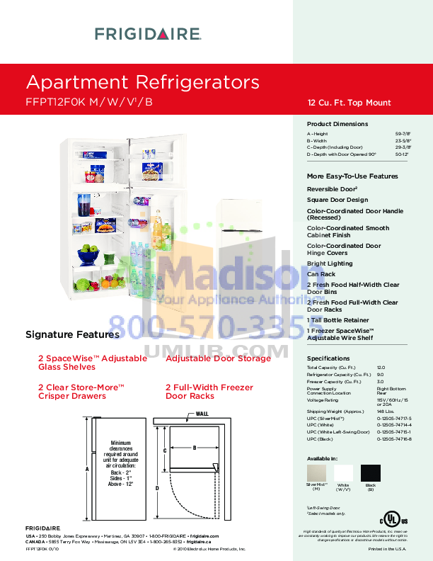 pdf for Frigidaire Refrigerator FFPT12F0K manual
