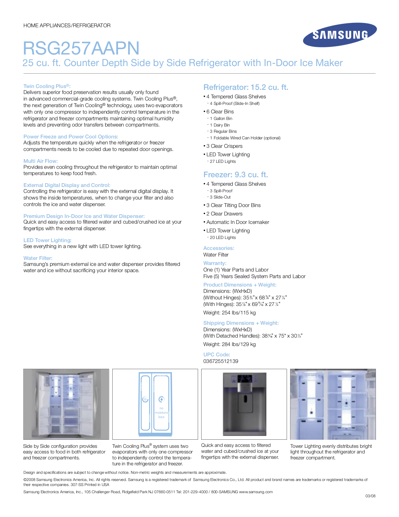 Samsung Refrigerator RSG257AAPN pdf page preview