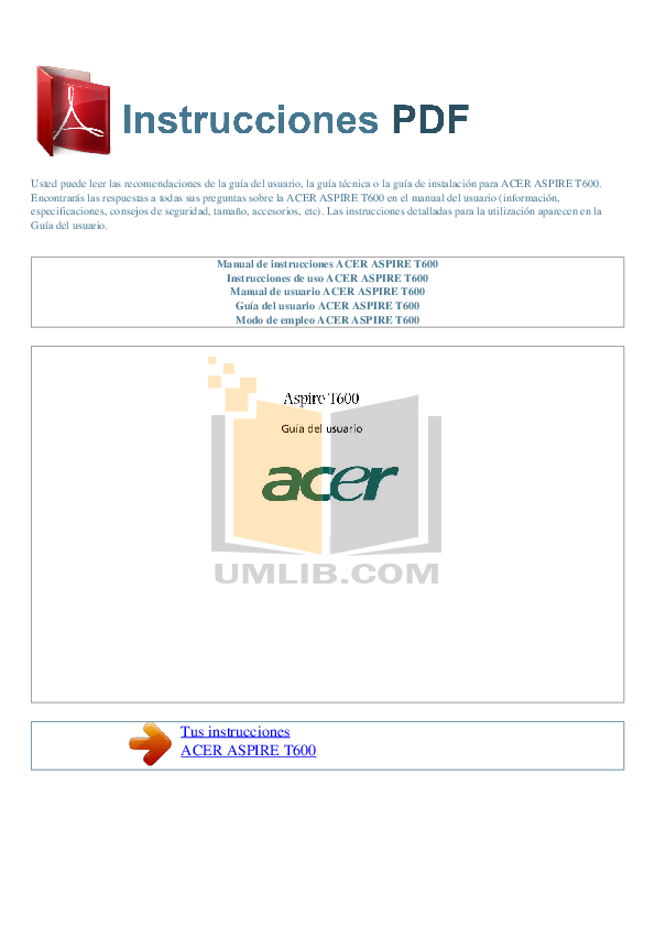 Acer Desktop Aspire T600 pdf page preview
