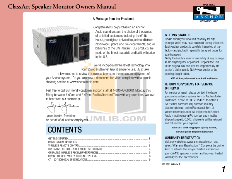 pdf for Anchor Speaker AN-130RC manual