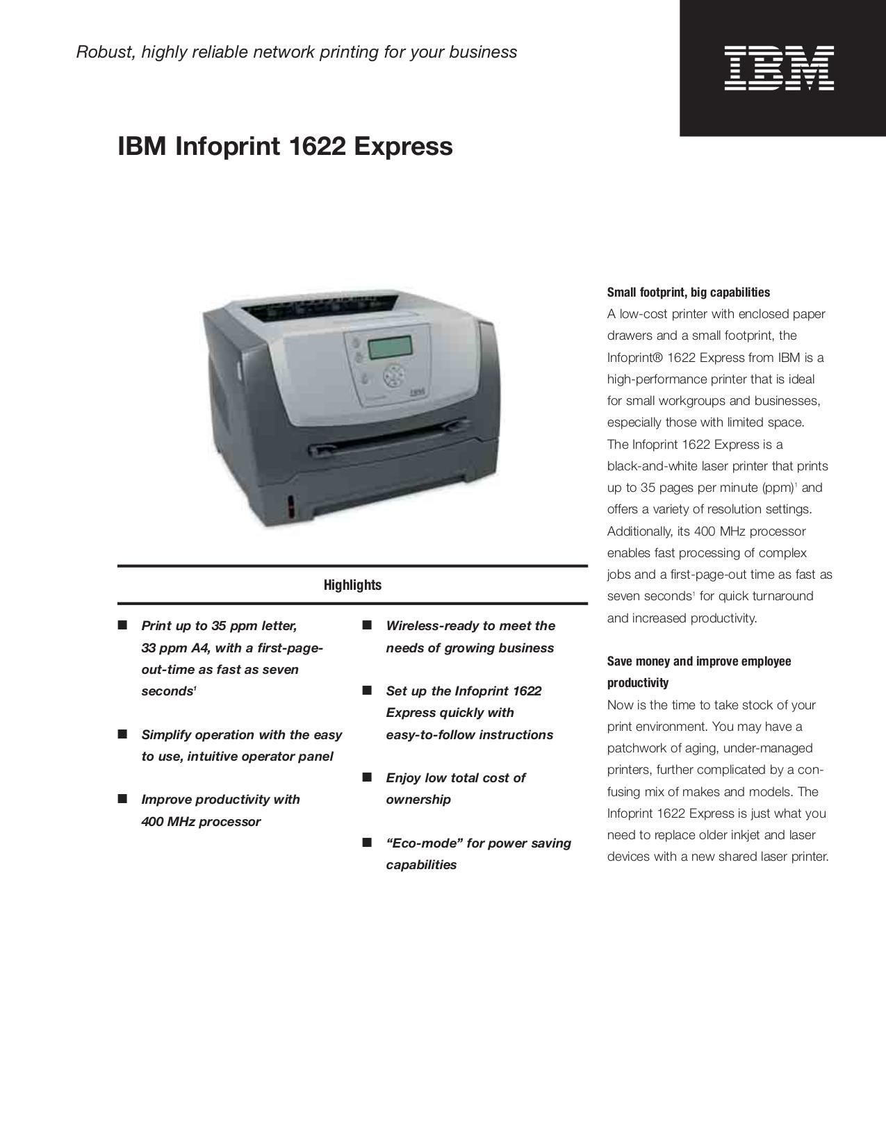 Download free pdf for IBM InfoPrint 1622 Printer manual