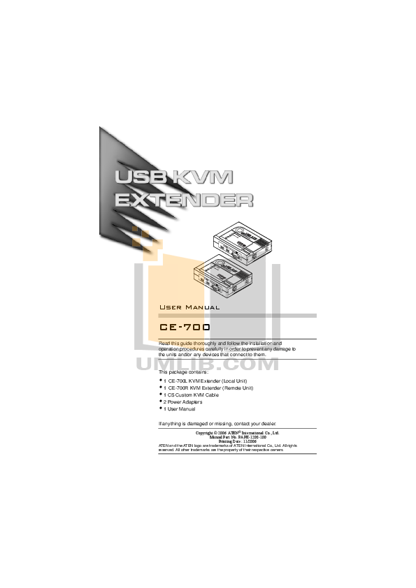 pdf for ATEN Other CE-700 KVM Extender manual