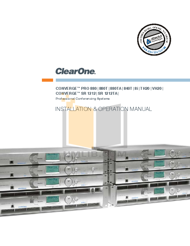 pdf for ClearOne Telephone Converge Pro TH20 manual