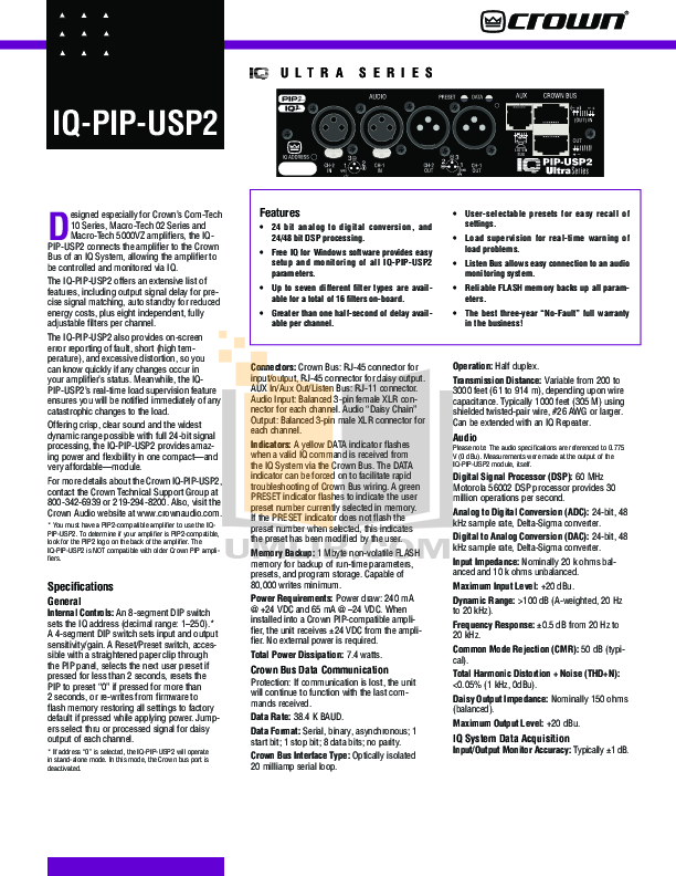 pdf for Crown Other IQ-PIP-USP2 Input Processors manual