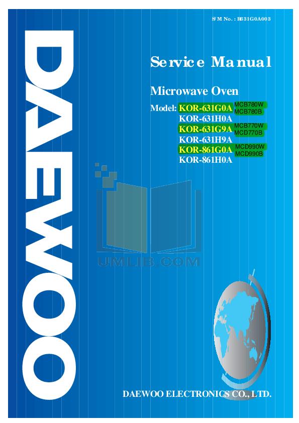 pdf for Daewoo Microwave MCD990W manual