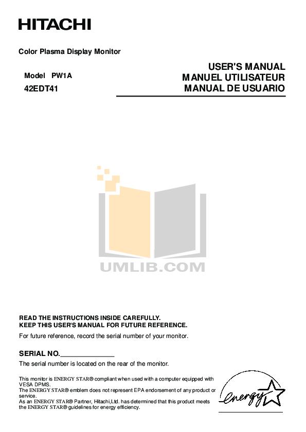 pdf for Hitachi TV 42EDT41A manual