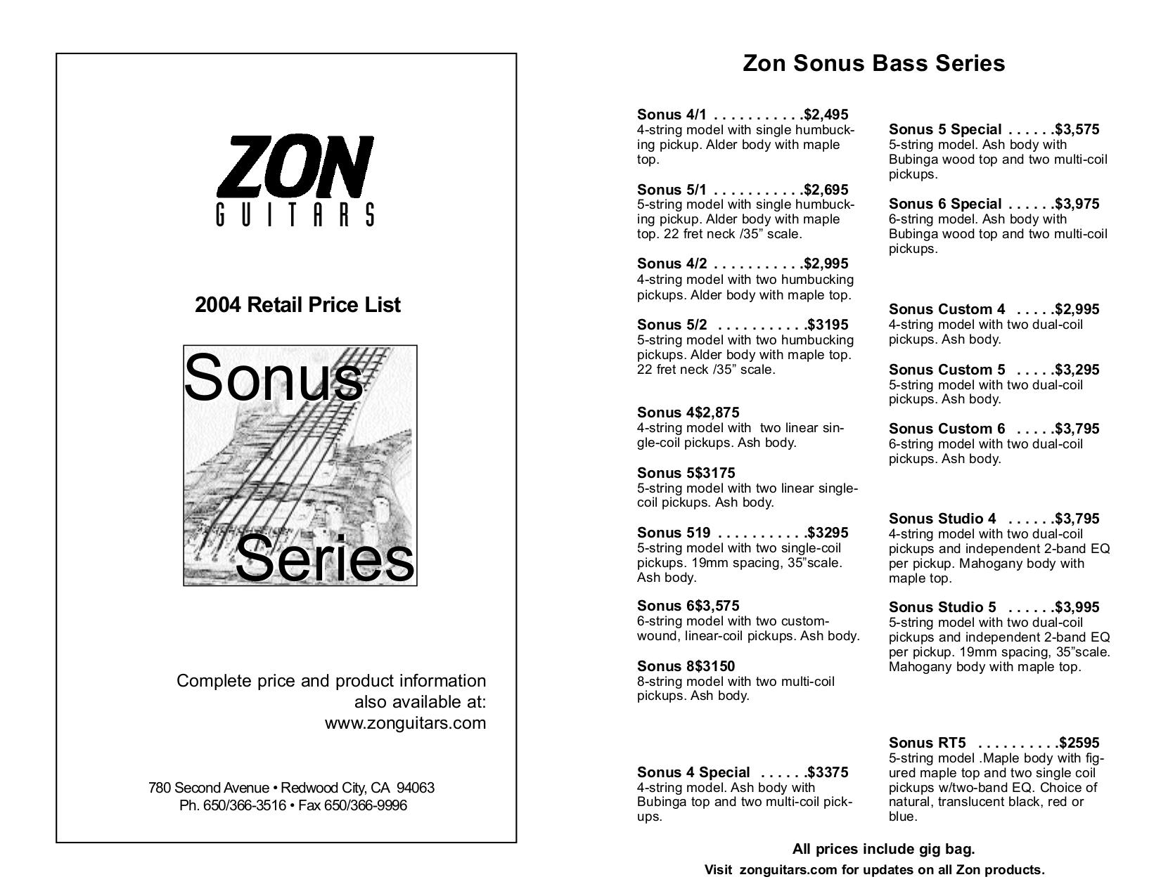 pdf for Zon Guitar Sonus6 manual