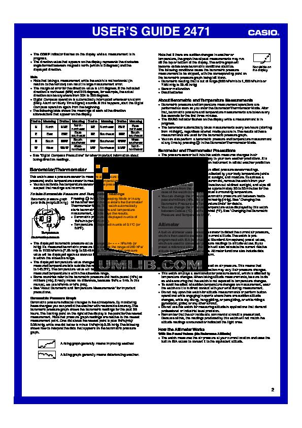 casio pathfinder 2471 manual