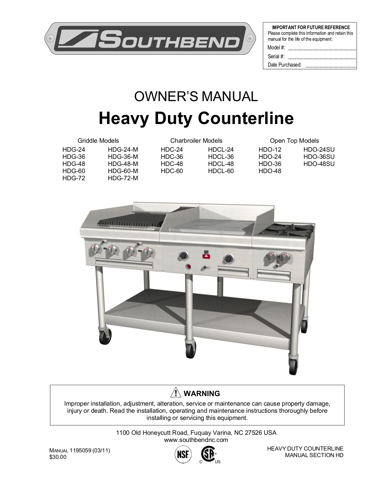 pdf for Southbend Other HDO-24SU Countertops manual