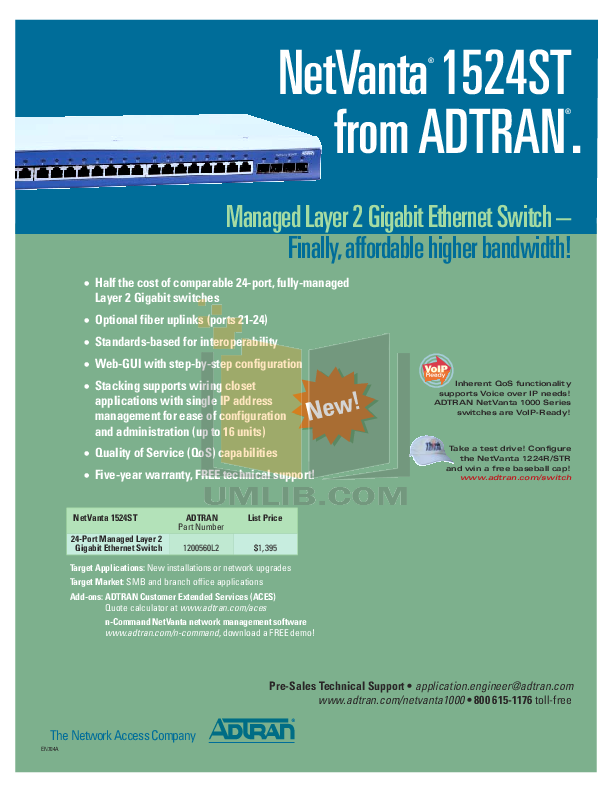 pdf for ADTRAN Switch NetVanta 1524ST manual