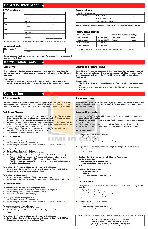 PDF manual for Fortinet Router FortiGate FortiGate-30B