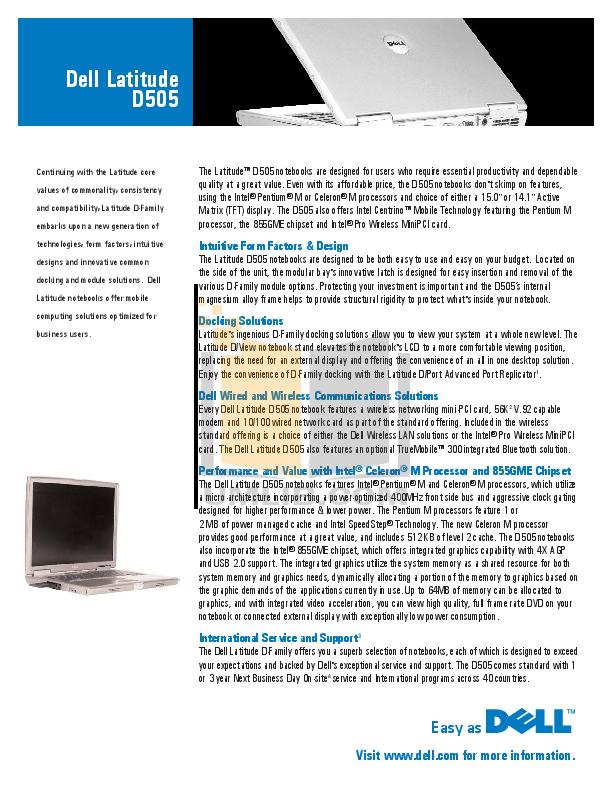 Latitude d505 user manual.