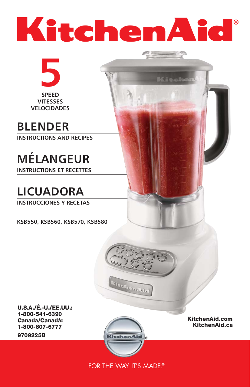 Download free pdf for kitchenaid ksb560 blender manual for What brand of blender is used on the chew