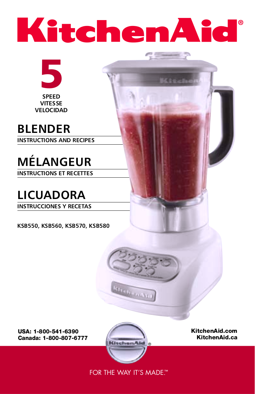 pdf for KitchenAid Blender KSB560 manual