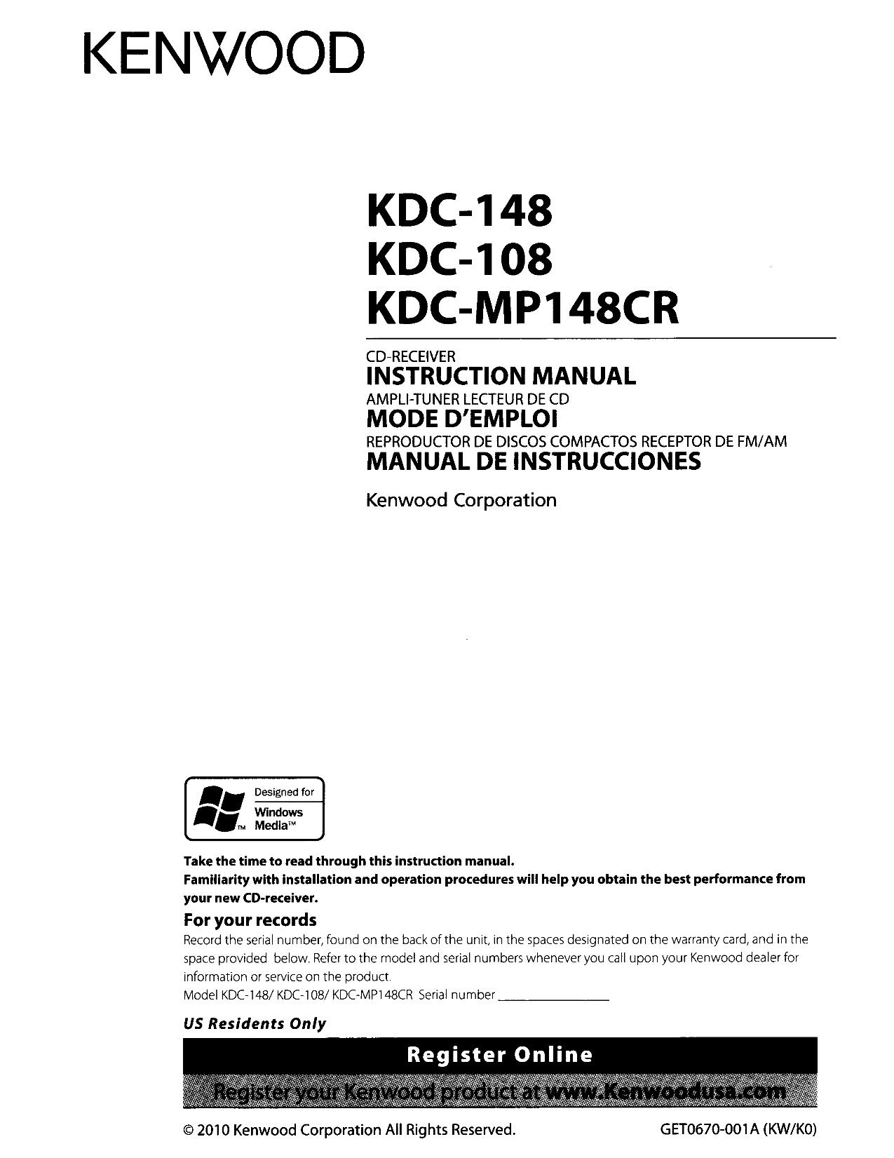 113KDC148.PDF 0 download free pdf for kenwood kdc 148 car receiver manual kenwood kdc x895 wiring diagram at soozxer.org