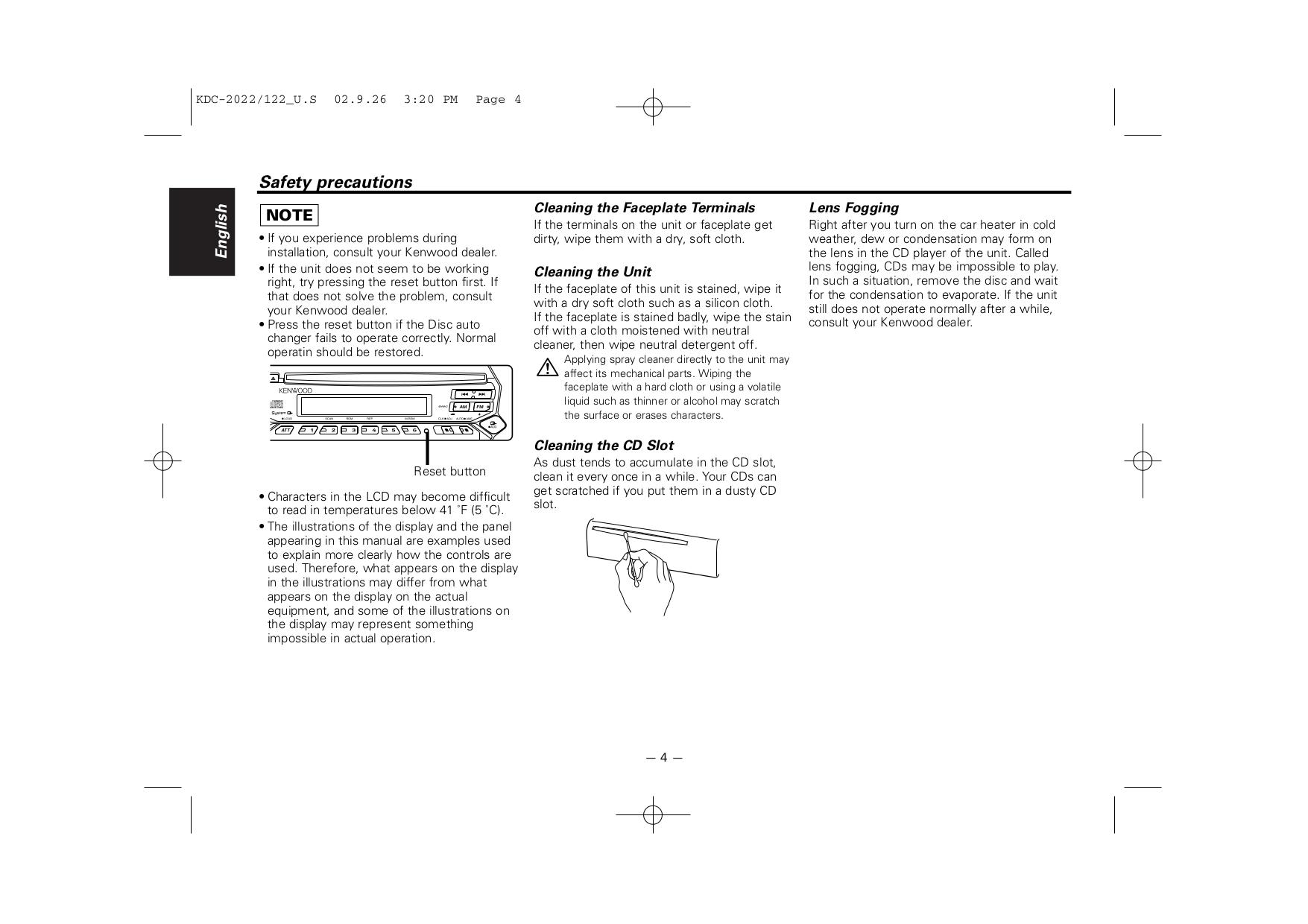 PDF manual for Kenwood Car Receiver KDC-2022V