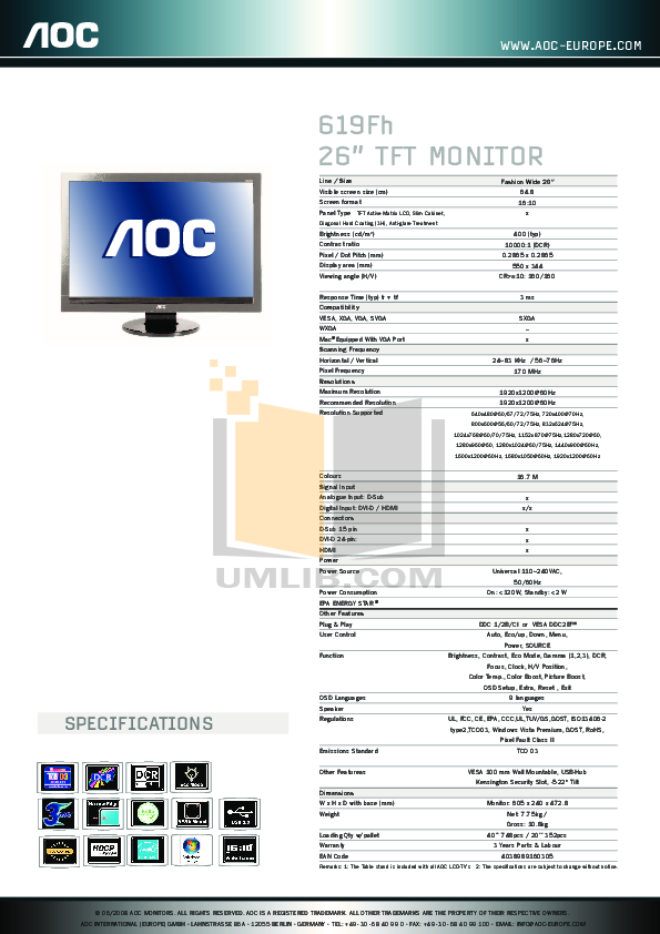 pdf for AOC Monitor 619FH manual