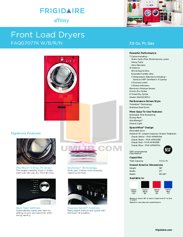 pdf for Frigidaire Dryer GLEQ942CS0 manual