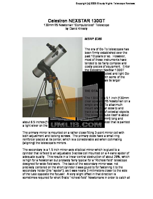 download free pdf for celestron nexstar 130gt telescope manual rh umlib com Celestron NexStar 114GT Telescope Jupiter Celestron NexStar 114GT Telescope Jupiter