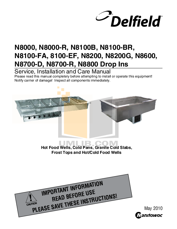 pdf for Delfield Other N8200 Frost Top Counter manual