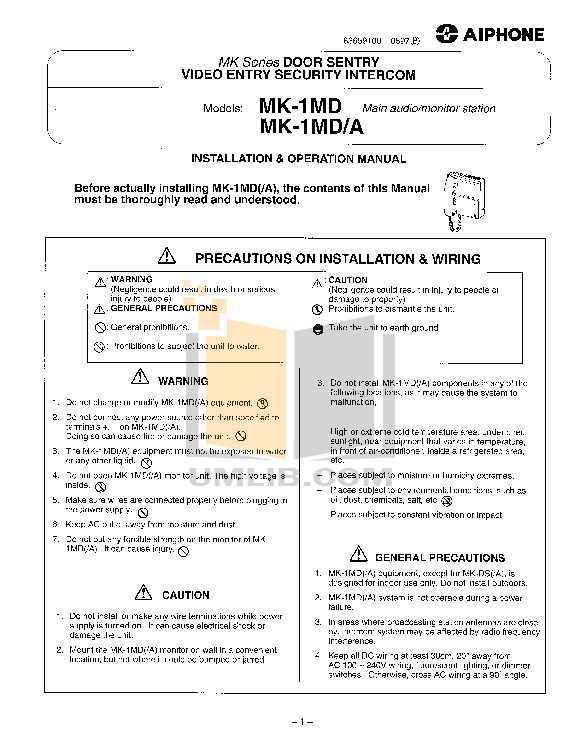 pdf for Aiphone Other MDS-3V Intercoms manual