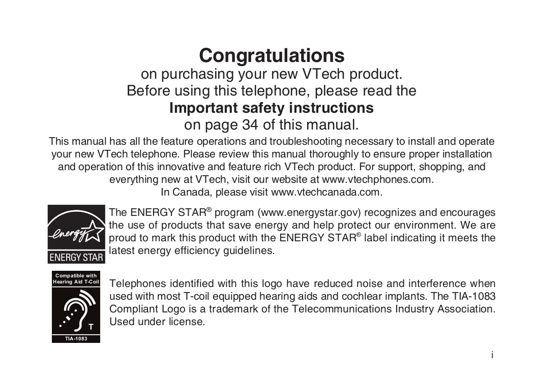Download free pdf for vtech cs5111 telephone manual.