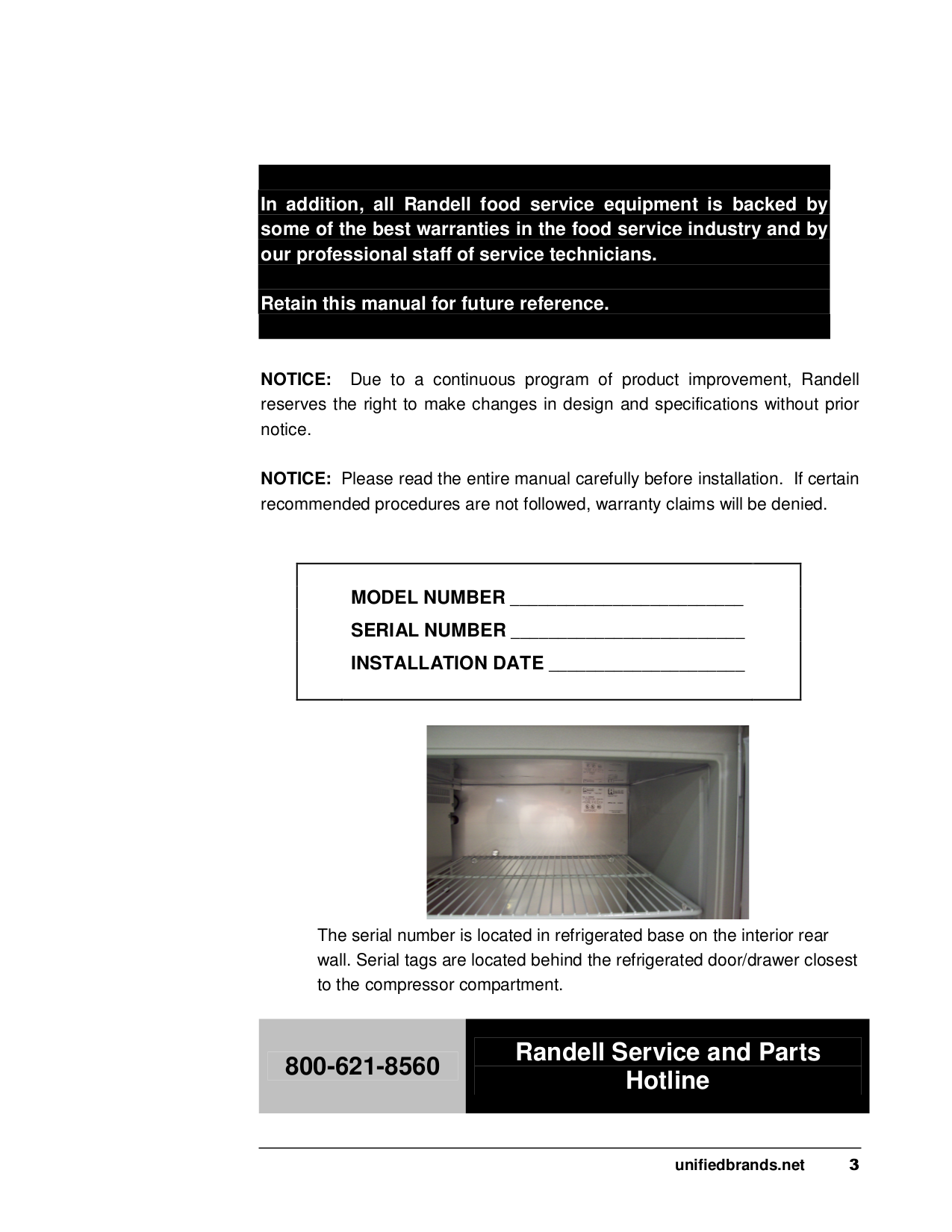 Randell Other 8260N Food Prep Table pdf page preview