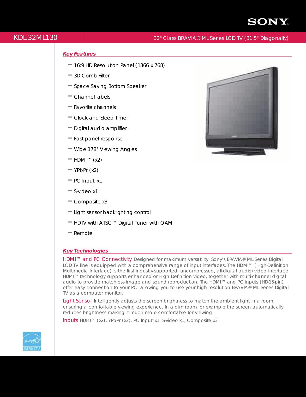 pdf for Sony TV BRAVIA KDL-32ML130 manual