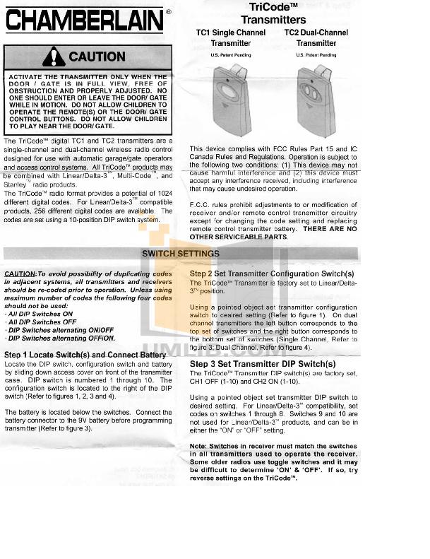 Download free pdf for chamberlain tricode tc1 transmitters other manual pdf for chamberlain other tricode tc1 transmitters manual fandeluxe Gallery