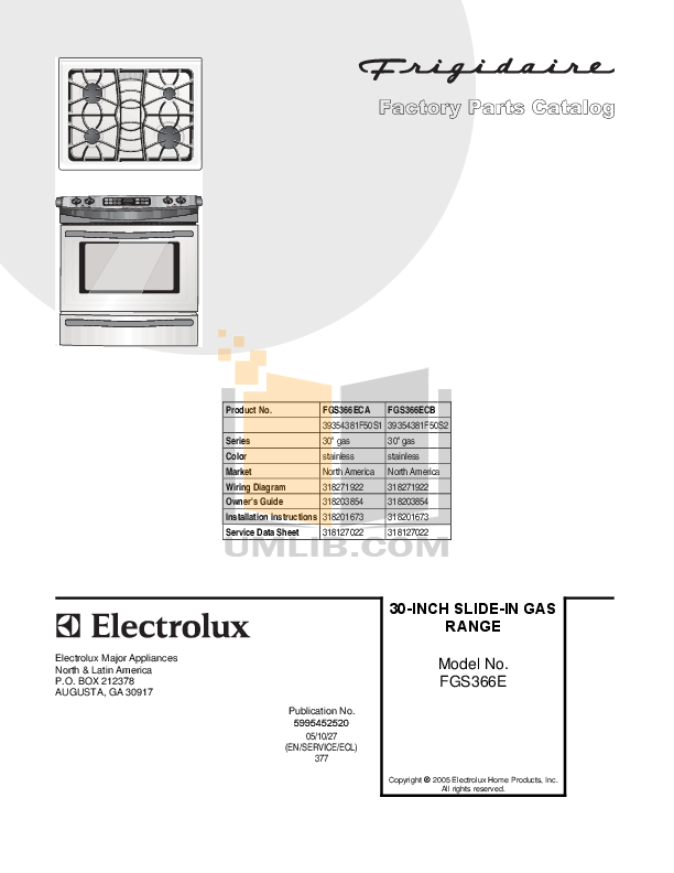 pdf for Frigidaire Range FGS366EC manual