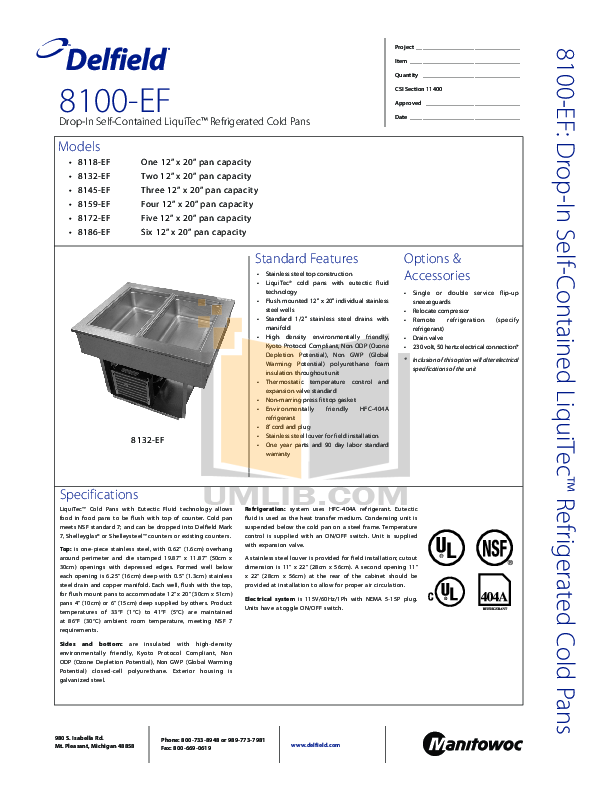 pdf for Delfield Other 8132-EF Cold Pans manual