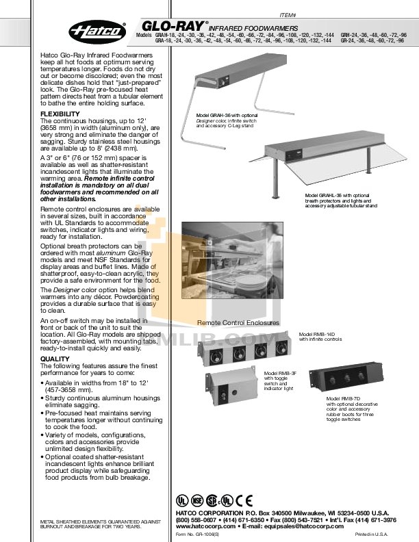 pdf for Hatco Other GRAHL-132 manual