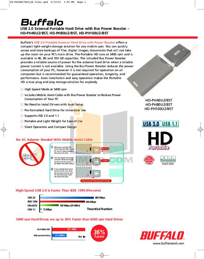 pdf for Buffalo Storage HD-PH100U2 manual