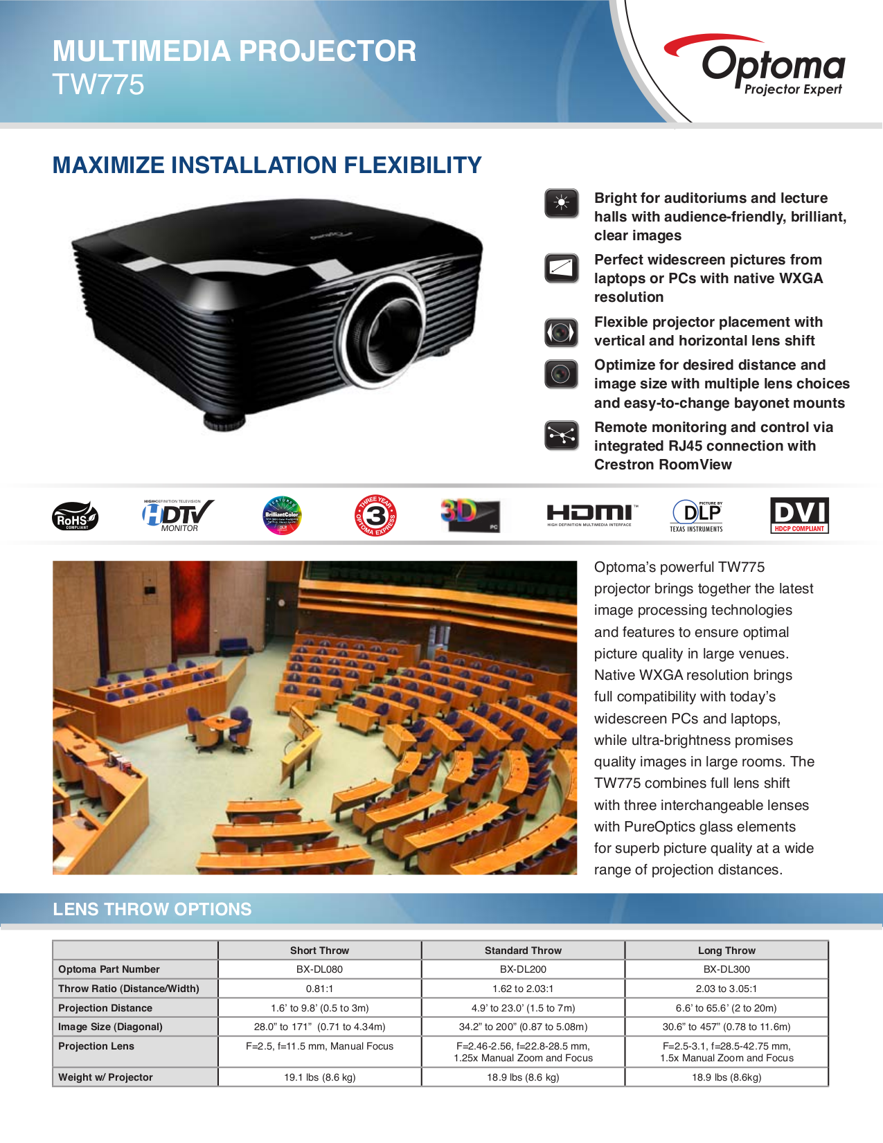 pdf for Optoma Projector TW775 manual