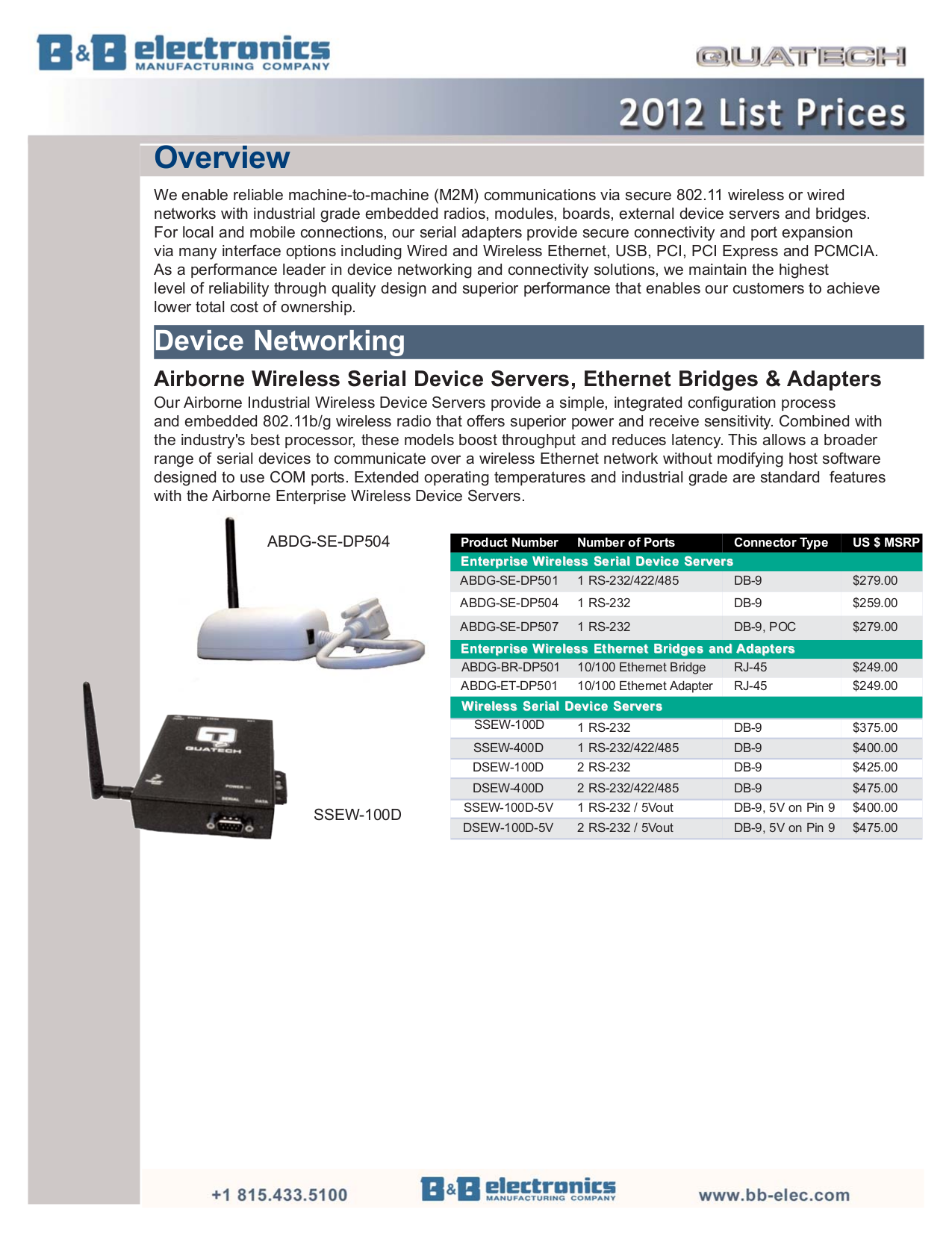 pdf for Quatech Other ETR-USB2 USB Extenders manual