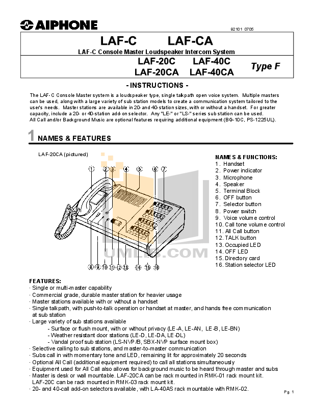 pdf for Aiphone Other LAF-20C Intercoms manual