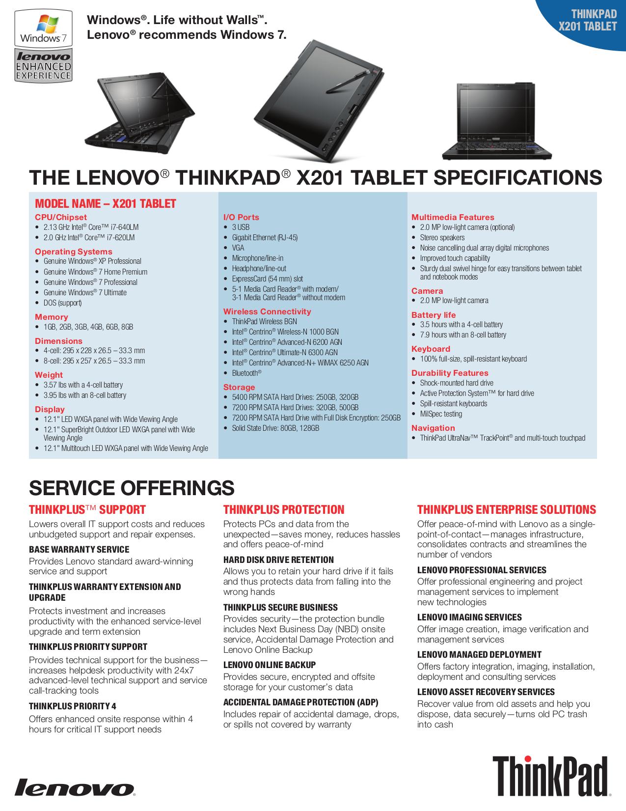 ... Lenovo Laptop ThinkPad X201 Tablet 2985 pdf page preview ...