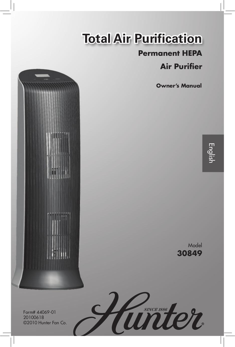 pdf for Hunter Air Purifier 30849 manual