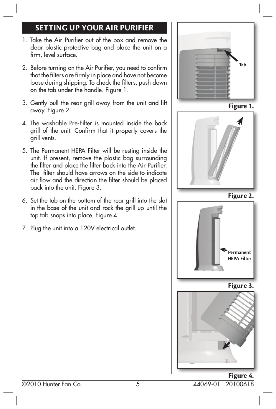 ... Hunter Air Purifier 30849 pdf page preview ...