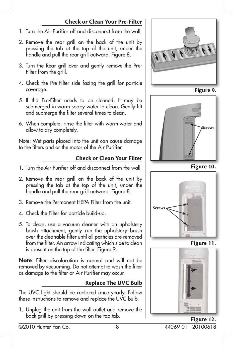 ... Hunter Air Purifier 30849 pdf page preview