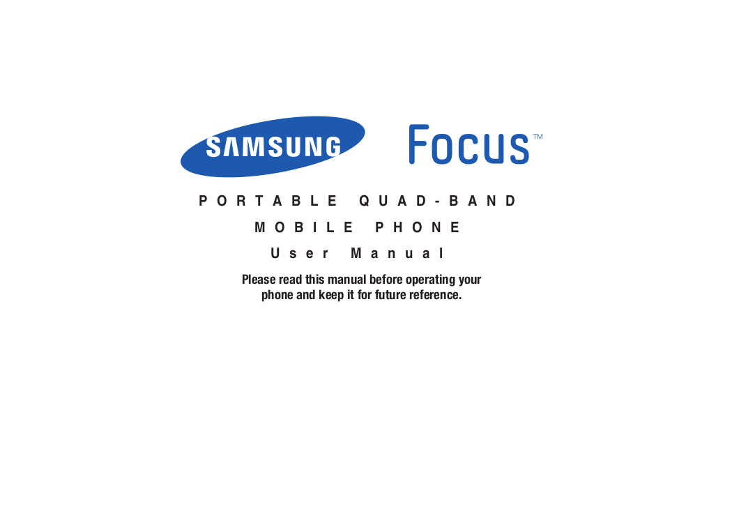 pdf for Samsung Cell Phone Focus manual