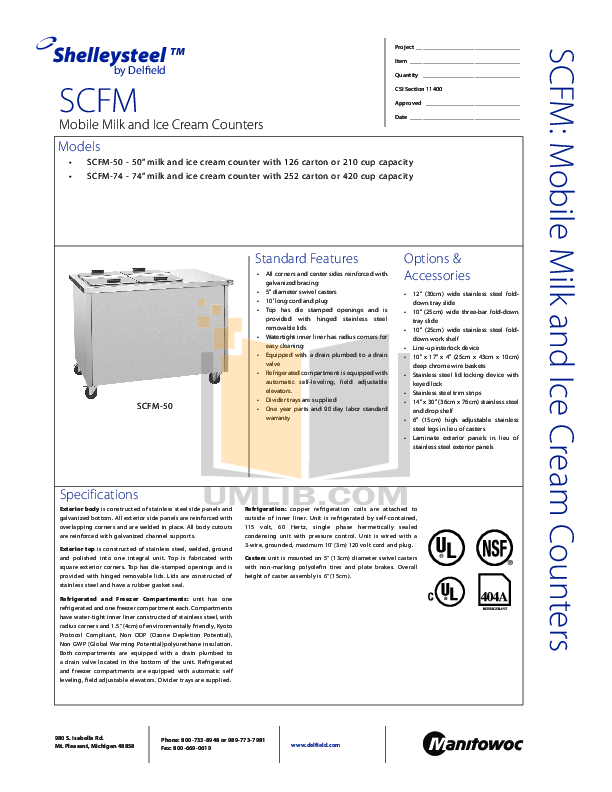 pdf for Delfield Refrigerator SCFM-50 manual