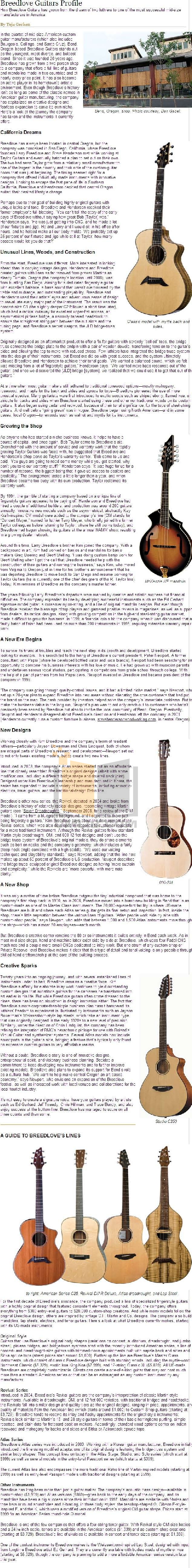 pdf for Breedlove Guitar Mark I manual